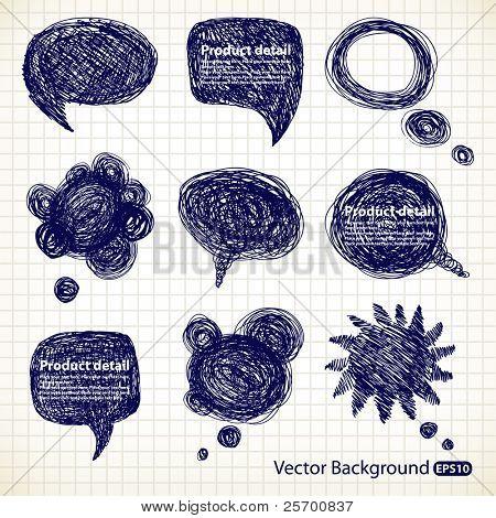 Handgetekende spraak bubbels illustratie