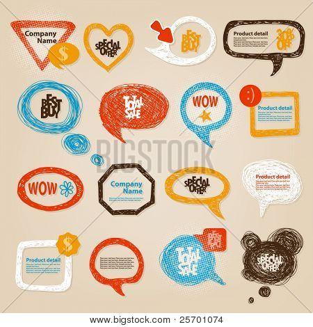 handgezeichnete Rede Blasen Abbildung