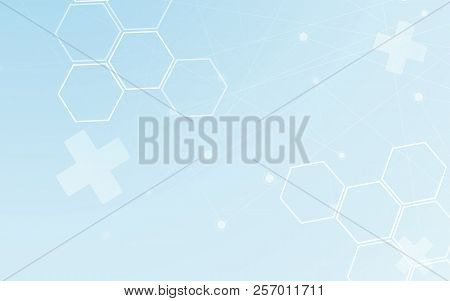 Medical Abstract Background. Polygon And Dot Line Graphic Design Element. Blue And White Tone For Mo