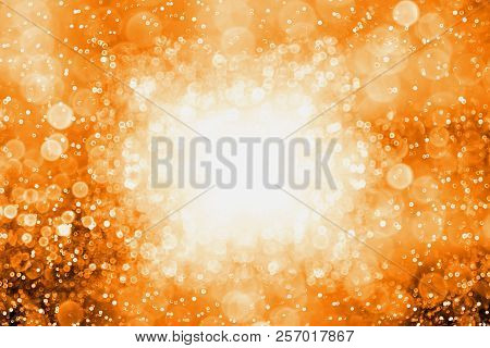 Abstract Dark Orange Black Glitter Sparkle Confetti Background For Happy Birthday Invite, Autumn Fal
