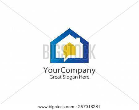 Abstract House Logo Icon Design. Home Chat Concept For Real Esta