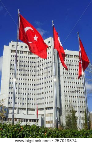 Ankara, Turkey - National flags and Ministry of Foreign Affairs Building in Ankara