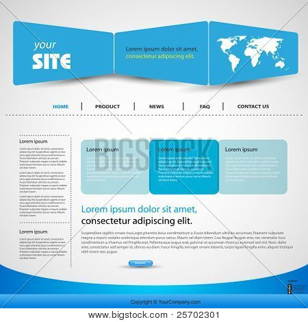 web design vector blue template, easy editable