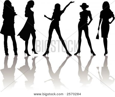 Sexy woman silhouettes fashion girls - vector illustration poster