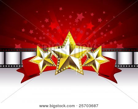 Background with Golden Stars on the Red Banner and Film Stripe
