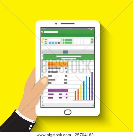 Hand Holding Tablet. Businessman Read Spreadsheet Financial Anal