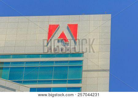 San Jose, California, United States - August 12, 2018: Adobe Logo At Adobe Headquarters. Adobe Is Le