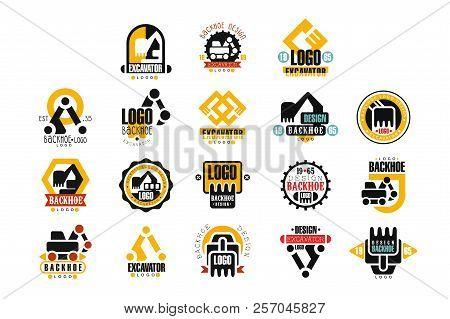 Excavator Logo Design Set, Backhoe Service Vector Illustrations