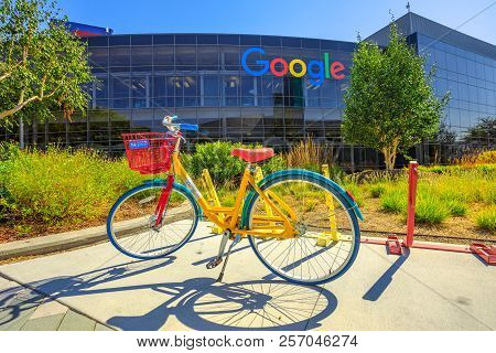 Mountain View, Ca, United States - August 13, 2018: Colorful Bike For Google Employees To Move In Go