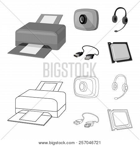 Webcam, Headphones, Usb Cable, Processor. Personal Computer Set Collection Icons In Outline, Monochr