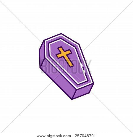 Coffin Icon, Casket Sign. Colorful Flat Halloween Icon, Thin Line Art Design, Vector Illustration