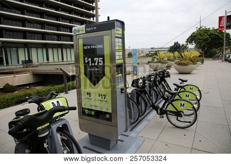 9-2-2018 Los Angeles, California: Bicycle Rental station with rental bicycles available to anyone with money.