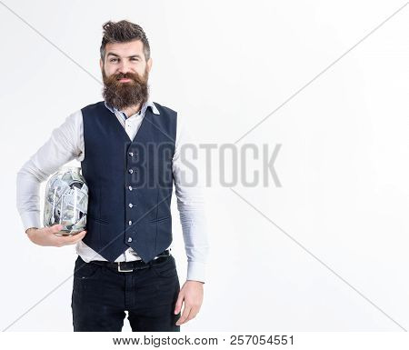 Man In Suit, Businessman With Jar Full Of Cash. Loan&banking Concept. Bank Advertising. Business, Fi