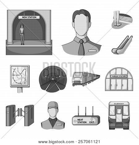 Metro, Subway Monochrome Icons In Set Collection For Design.urban Transport Vector Symbol Stock Web