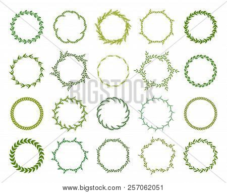 Collection Of Different Green Silhouette Circular Laurel Foliate, Wheat And Olive Wreaths Depicting