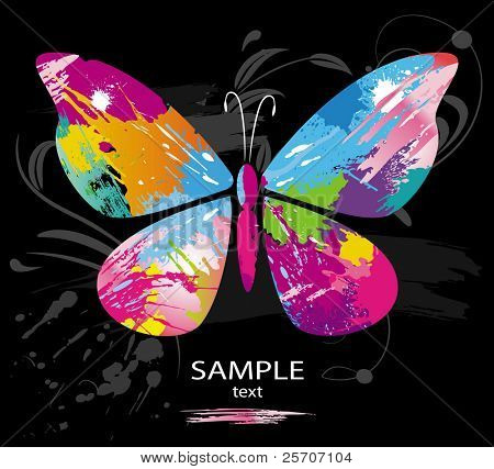 Butterfly from color splashes and line brushes. Vector