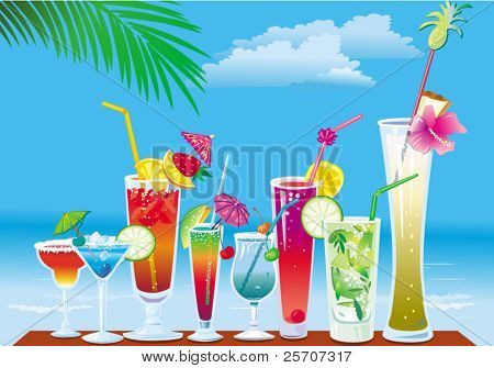 Cocktails on the beach on sky background