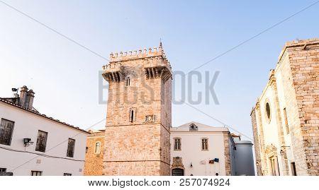Estremoz Castle (castelo Da Rainha Santa Isabel) With Tres Coroas (three Crowns) Marble Tower, At Su