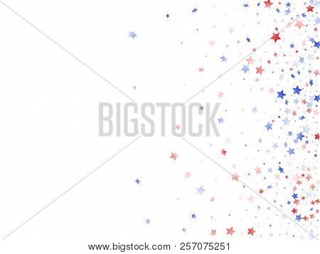 American Presidents Day Stars Background. Confetti In Us Flag Colors For Independence Day. Solemn Re