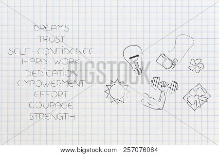 Positive And Negative Attitude Conceptual Illustration: List Of Happy Attitudes With Dream-themed Ic