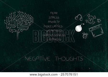 Positive And Negative Attitude Conceptual Illustration: Circuit Brain Next To List Of Stressed Attit