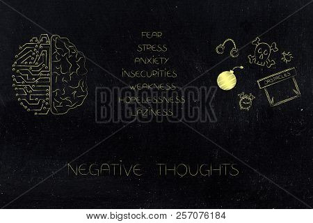 Positive And Negative Attitude Conceptual Illustration: Circuit And Human Brain Next To List Of Stre