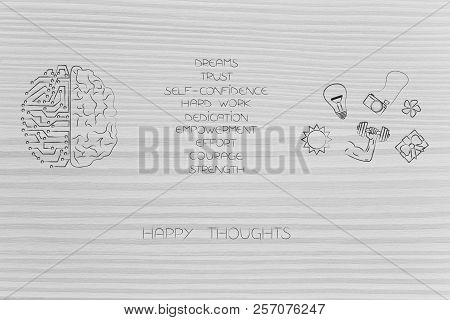 Positive And Negative Attitude Conceptual Illustration: Circuit And Human Brain With List Of Happy A