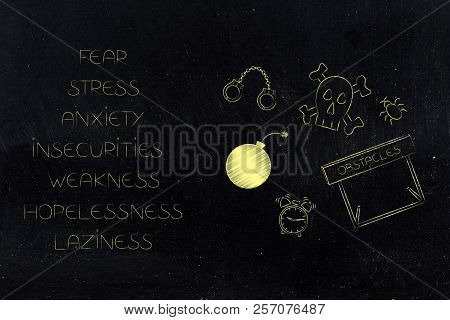 Positive And Negative Attitude Conceptual Illustration: List Of Stressed Attitudes Next To Fear-them