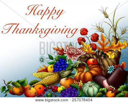 Greeting Card With Thanksgiving Day With A Cornucopia And Generous Harvest.cornucopia With A Generou