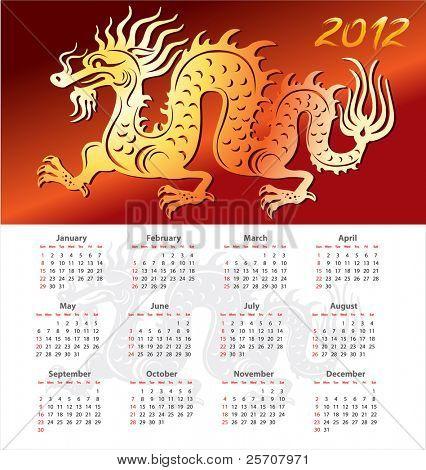Calendar 2012 year with dragon