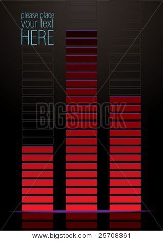 Volume graphic equaliser on black background, vector illustration