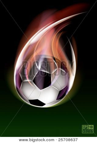 Flying soccer ball, eps10 vector