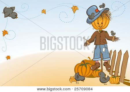 Thanksgiving or Halloween greeting card - Scarecrow with crows