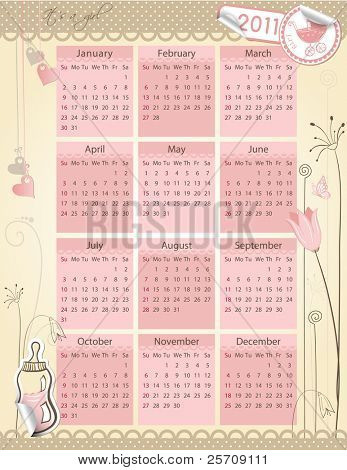 Calendar for 2011. year - Baby girl theme - every group on separate layer