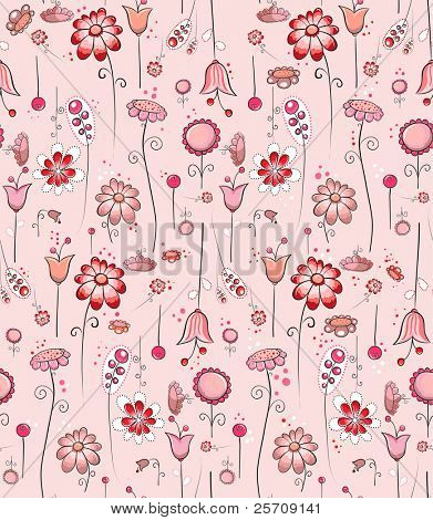 Seamless pattern - Pink flowers in all directions