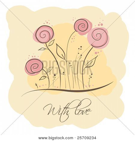 Greeting card - Flowers and dots
