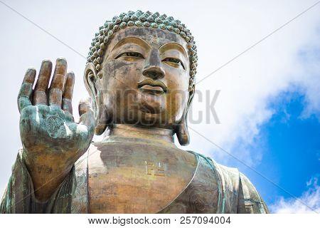Tian Tan Buddha, Big Budda, The Enormous Tian Tan Buddha At Po Lin Monastery In Hong Kong. The World