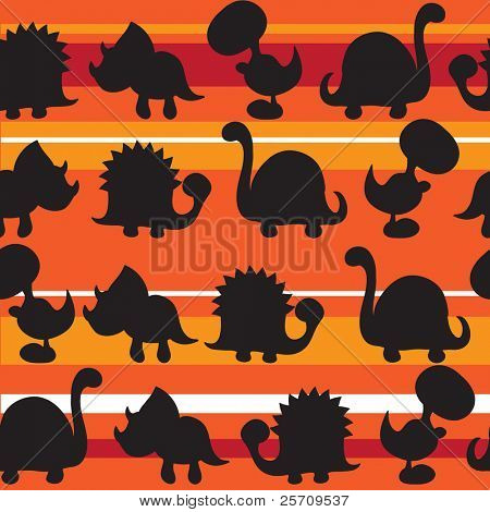 Seamless pattern -  Silhouette of cute dinosaurs