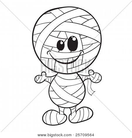 Cute mummy - Halloween coloring page