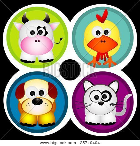 cartoon animals vector illustration