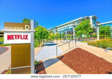Los Gatos, Ca, United States - August 12, 2018: Netflix Headquarters In Silicon Valley. Netflix Ente