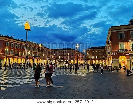 Nice, France - August 16, 2018: Place Massena Of Nice In The Evening. Built In The First Half Of The