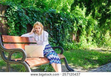 Business Lady Solving Problems Remote. Technologies Making Life Easier. Woman With Laptop Works Outd
