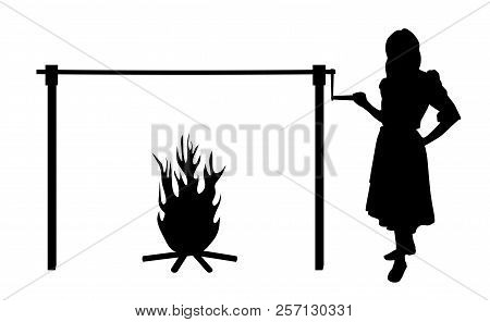 Woman And Spit Roast Fire. Isolated White Background. Eps File Available.