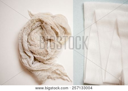Pure White Bandage Opposite Dirty. The Concept Of Opposites In Business, Comparison Concept.