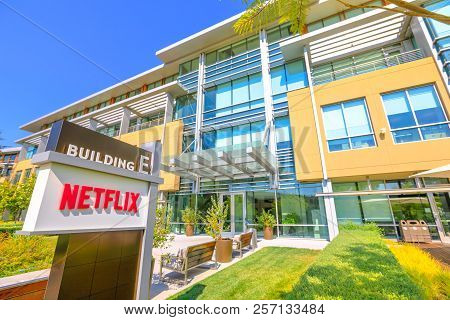 Los Gatos, California, United States - August 12, 2018: The New Campus Of Netflix Hq Made Of Self-da