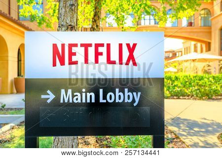 Los Gatos, California, United States - August 12, 2018: Netflix Logo At Spanish-style Buildings Of N