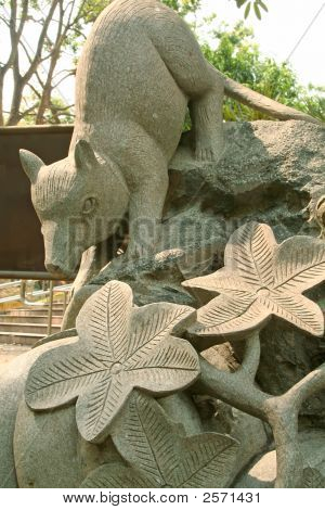 chinese zodiac - stone carving of a rat poster