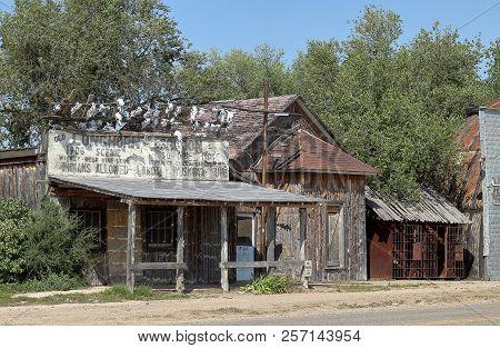 Scenic, South Dakota - September 1, 2018: Old Abandoned House And Saloon In Scenic, South Dakota.