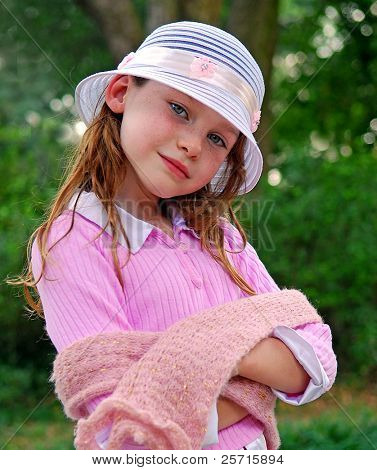 Young Girl Wearing Nice Hat and Scarf